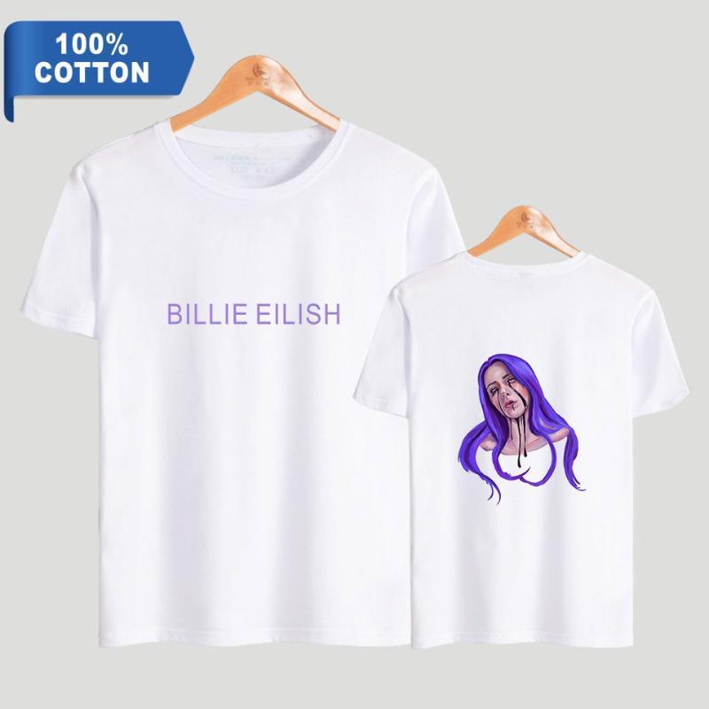 Билли Эйлиш футболка O-образным вырезом воротник с коротким рукавом чистый хлопок высокое качество футболка топы повседневный стиль лето Мужчины / Женщины футболка