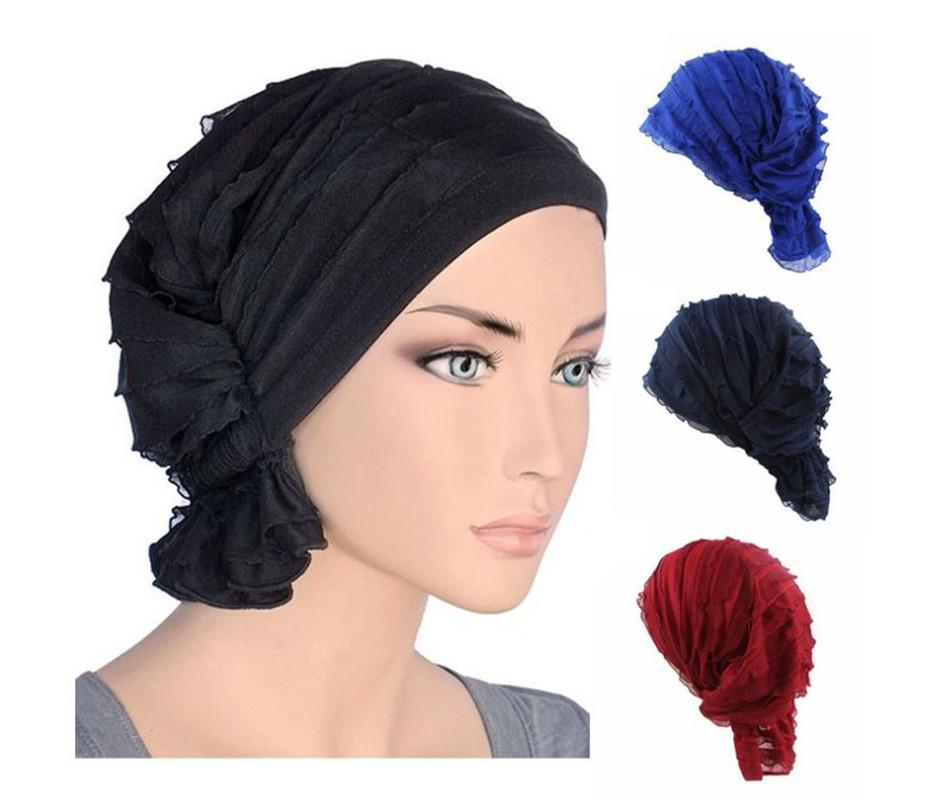 Muslim Bonnet Frauen Hijab Chiffon Turban Hut Kopfbedeckung Cap-Kopf-Verpackungs-Krebs-Chemotherapie Chemo Mützen Haarabdeckung Zubehör