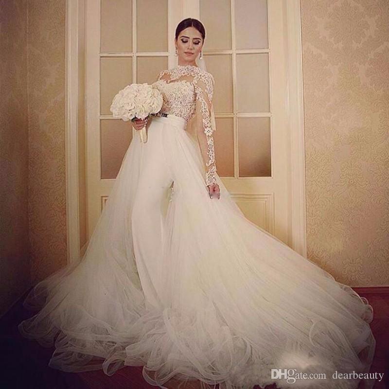 Sexy Русалка Свадебные платья с Overskirt Backless Длина пола Plus Размер Sheer шеи длинными рукавами свадебное платье