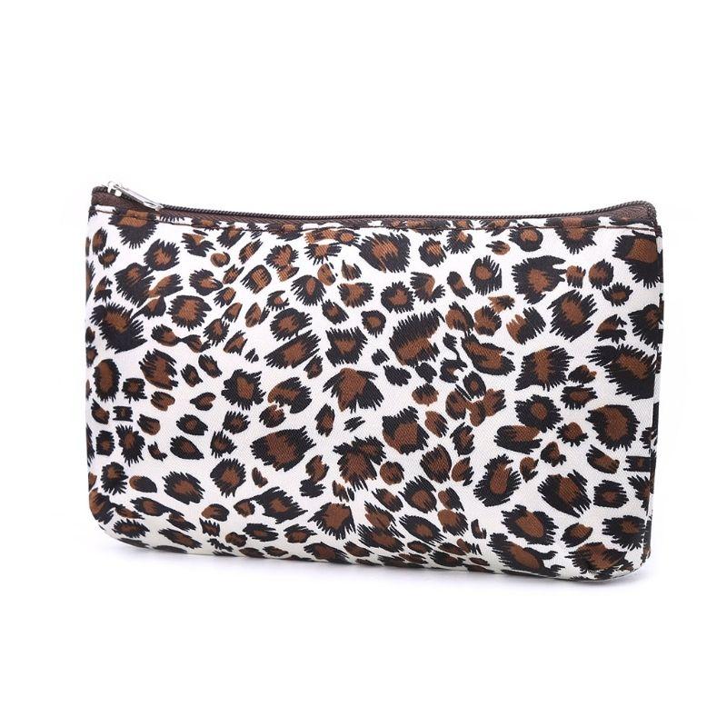 Mulheres de Viagem Cosméticos Saco de Leopardo Estampa de Higiene Pessoal Wash Organizador de Maquiagem Multi função Nylon Pano Zip # 305887