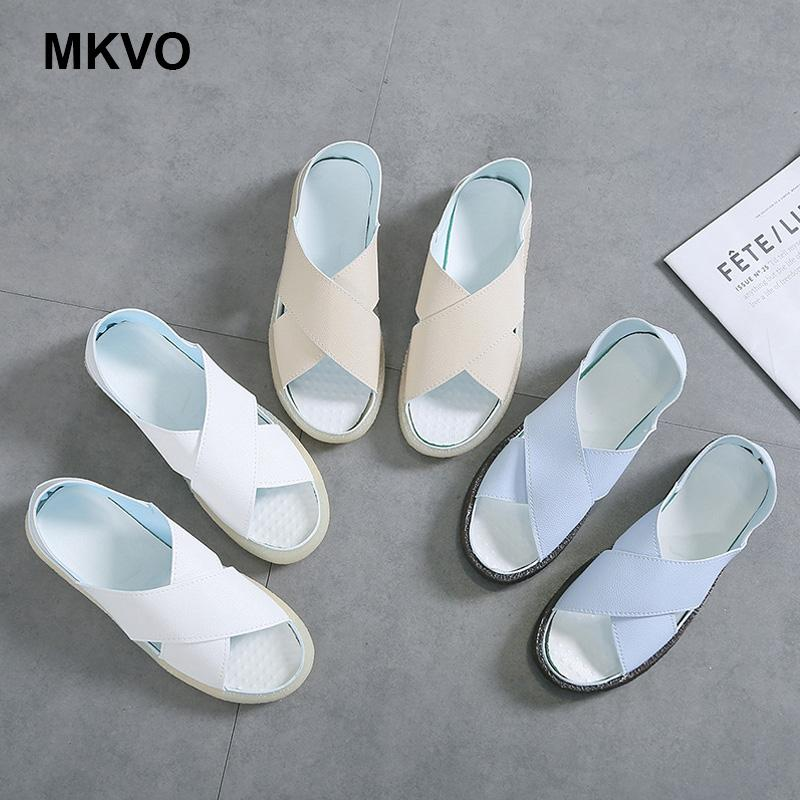 Summer Sandals Women Plus Size Flats Female Casual Peep Toe Shoes artificial leather Slip On Elastic Band Leisure Solid Footwear