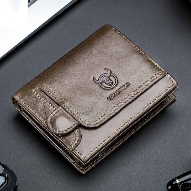 Diseño monedero hombres carpeta del cuero genuino de los hombres masculinos Monederos Con la tarjeta del bolsillo de la moneda Zipper la cartera Holder