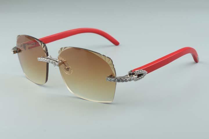 2019 Nouveaux diamants de style à la conception des lentilles micro coupe T3524018-5 lunettes de soleil, des temples en bois naturel rouge verres, taille: 18-135mm