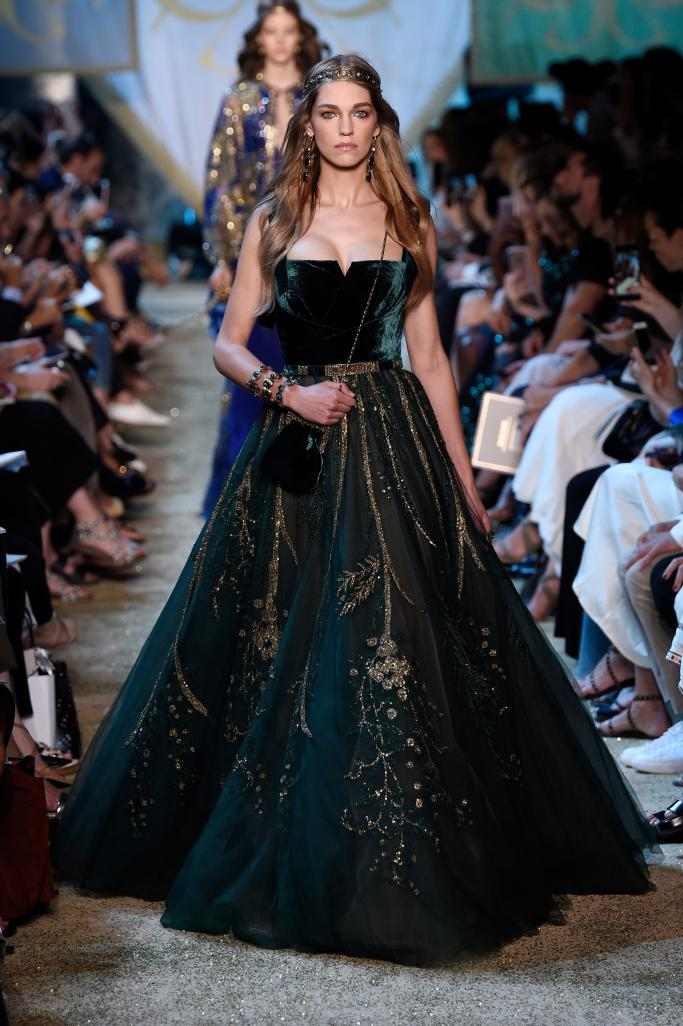 Evening dress Yousef aljasmi Kim kardashian Dark green Velvet Ball gown Strapless long dress Zuhair murad Ziadnakad Eliesaab 0014