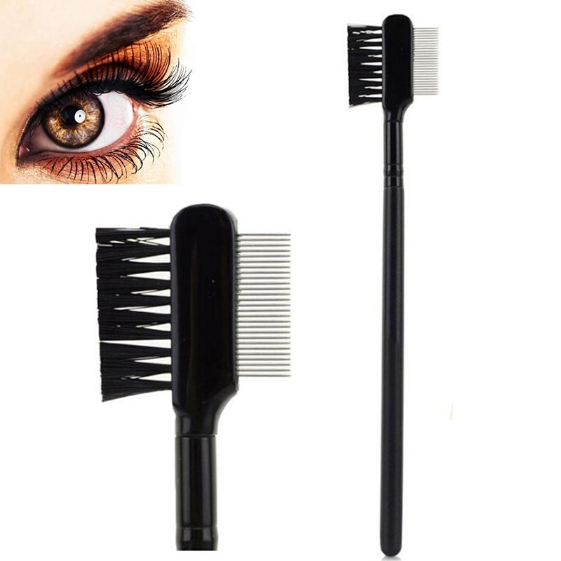 New Hot Selling High Quality Steel Eyebrow Eyelash Dual-comb Extension Brush Metal Comb Cosmetic Makeup Tool Wholesale Retail