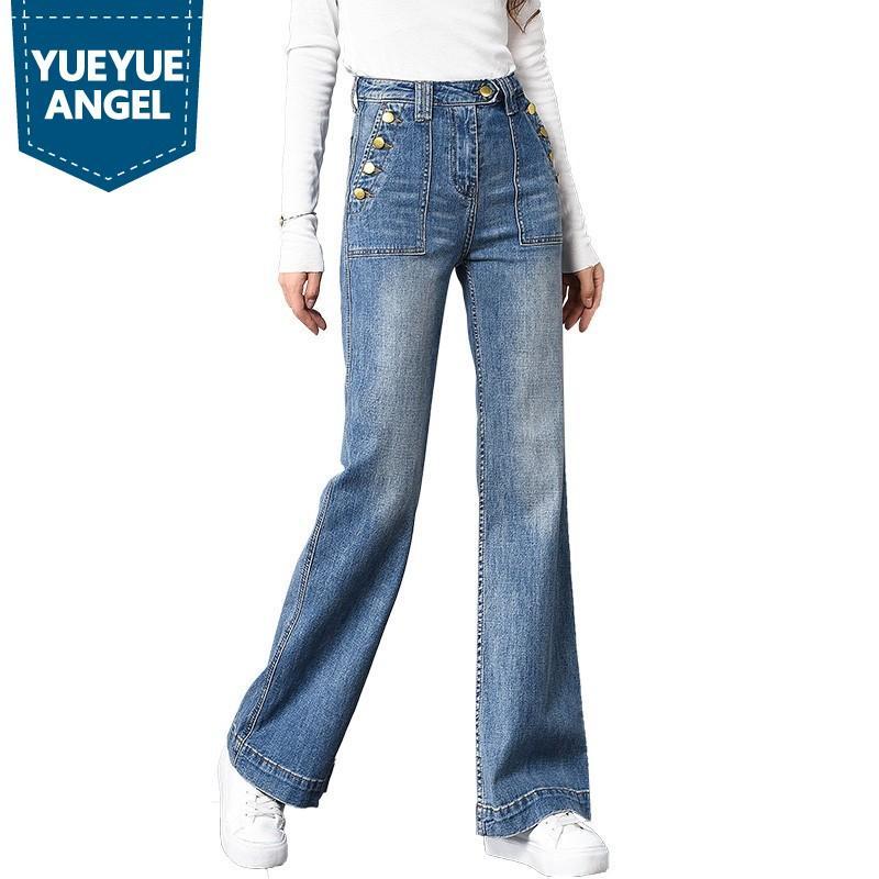 2019 Gerade Knöpfe Lose Hohe Taille Slim Fit Flare Hosen Jeans Korean Fashion Ganzkörperansicht Hosen Hochwertige Jeanshosen