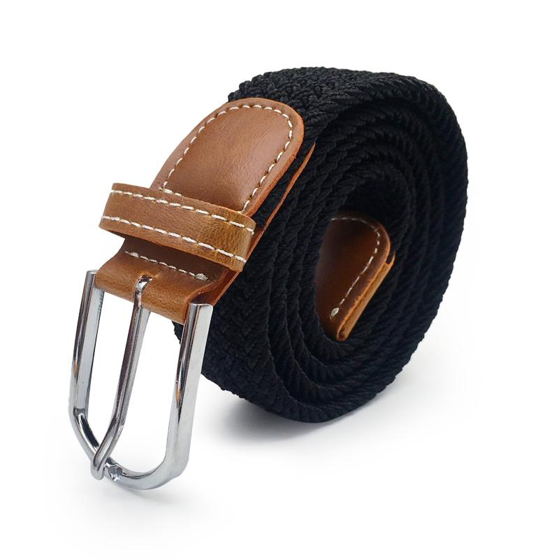 Hommes élastique extensible ceinture noire en toile extensible tressée élastique tissé ceinture en cuir large à chaud en métal pour les hommes