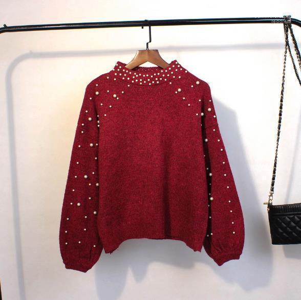 Cuello jersey perla diseñador caliente Mujer ropa de mujer Casual Ropa para mujer de invierno suéteres manga larga Crew
