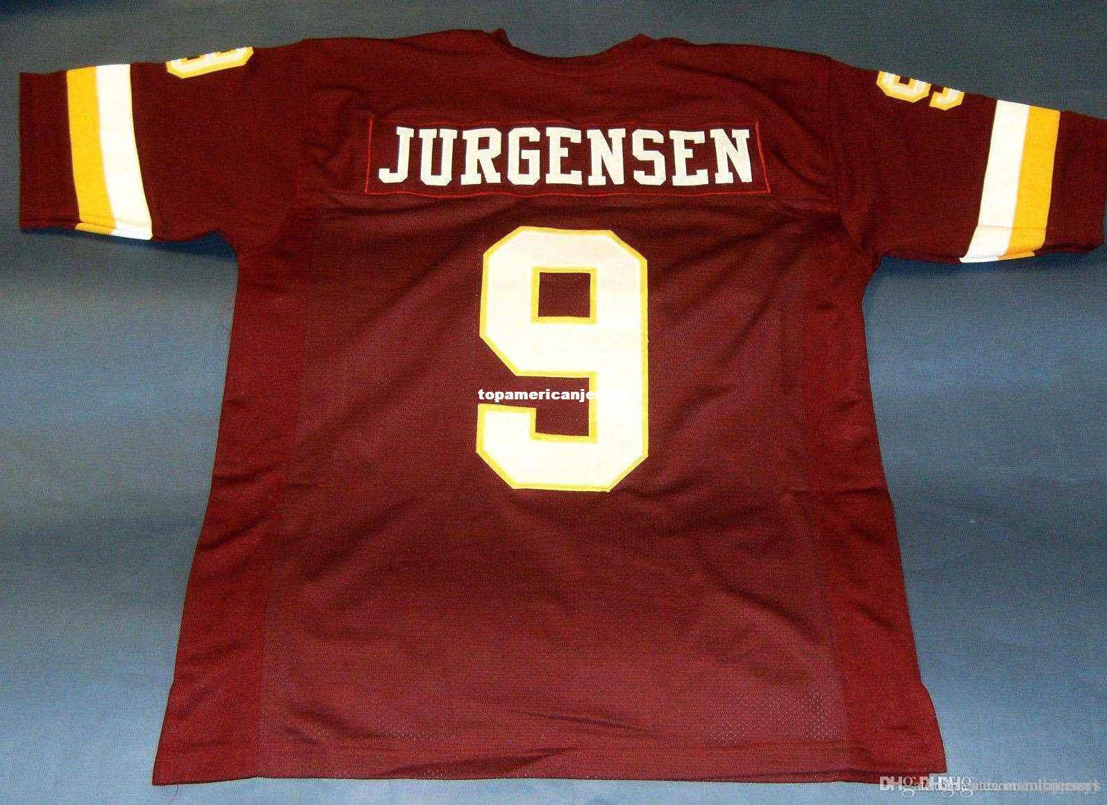 Ucuz Retro 9. SONNY Jürgensen ÖZEL MITCHELL NESS Jersey Şarap Kırmızısı Mens Dikiş Üst S-5XL, 6XL Futbol Formalar Koşu