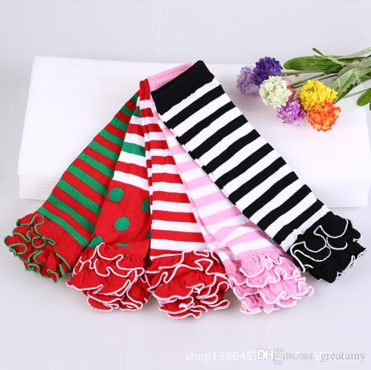 Baby candy color striped polka dot ruffle leg warmers kids girl birthday gifts leggings child Socks keep leg/arm warm