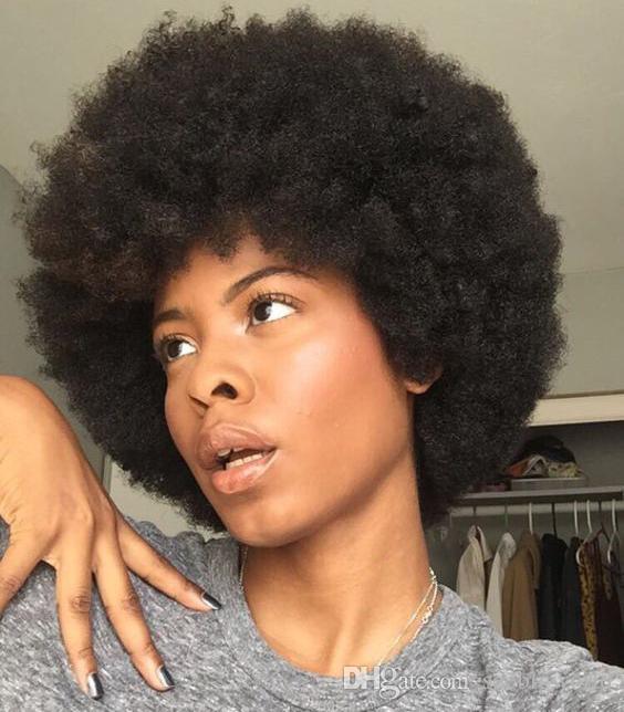 Acheter Bonne Qualite Belle Afro Court Perruques Boucles Crepus