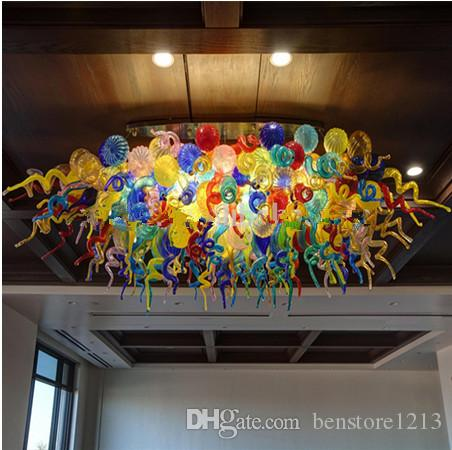 Modern Round Ceiling Light Banquet Hall of the Hotel Custom Engineering Crystal Light Colorful Murano Glass Chandelier Lighting