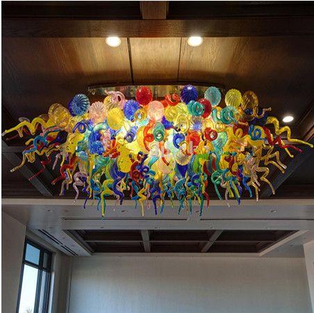 الحديثة جولة ضوء السقف مأدبة قاعة الفندق مخصص هندسة الكريستال ضوء ملون زجاج مورانو الثريا الإضاءة