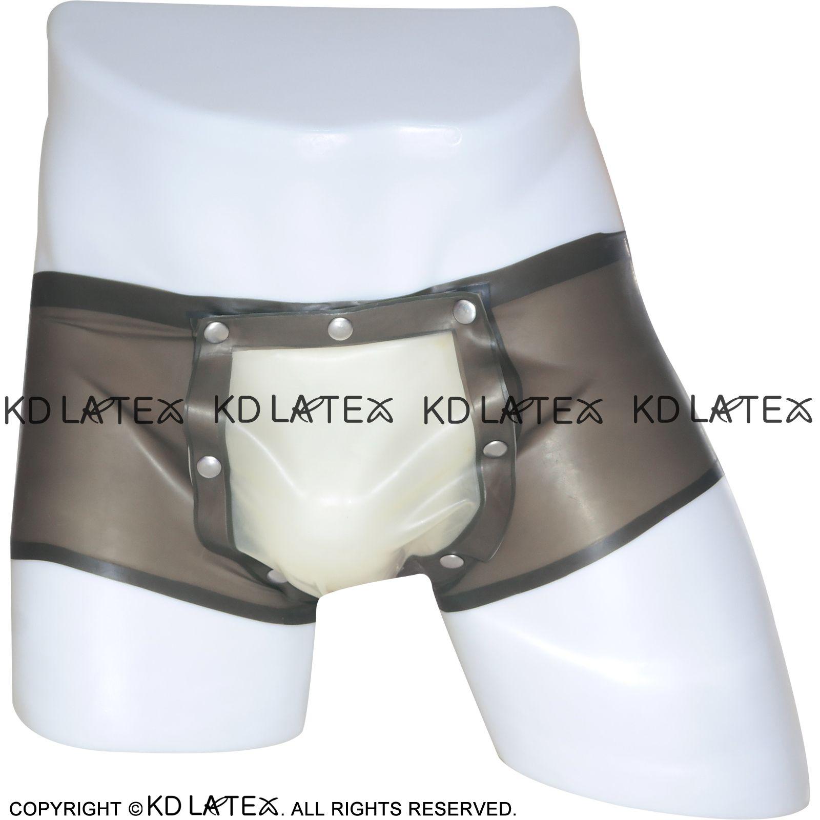 Seksi Lateks Boxer Şort ile Codpiece Açık Kasık Kauçuk Brifing Cod parça İç Bottoms Külot DK-0048