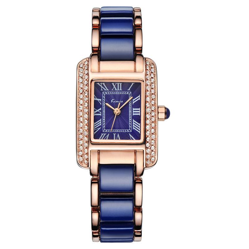 Kimio Quartz Femmes Mode Blue Square diamant Bracelet Montres Marque Céramique Imitation étudiant imperméable Wristwatch Y191112