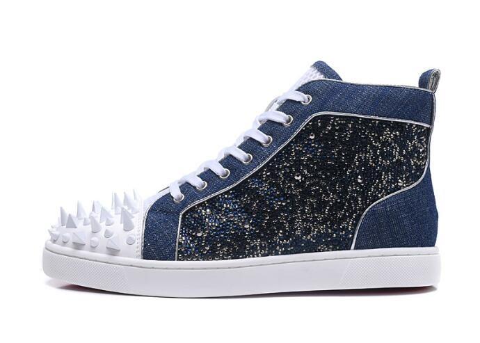 Blue Diamond Herren Freizeitschuhe Leder Sneakers White Spikes Herren Designer Sneakers für Herren Fashion High Top Herren Schuhe Casual Tenis Herren