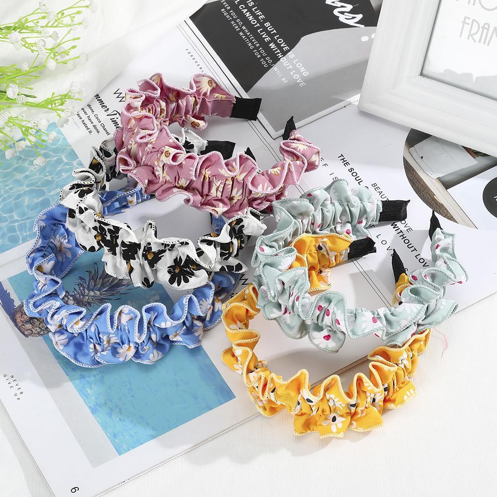 New Fashion Floral Print Headbands for Women Girls Dot Fold Design Hairbands Oversize Bezel Hair Accessoires