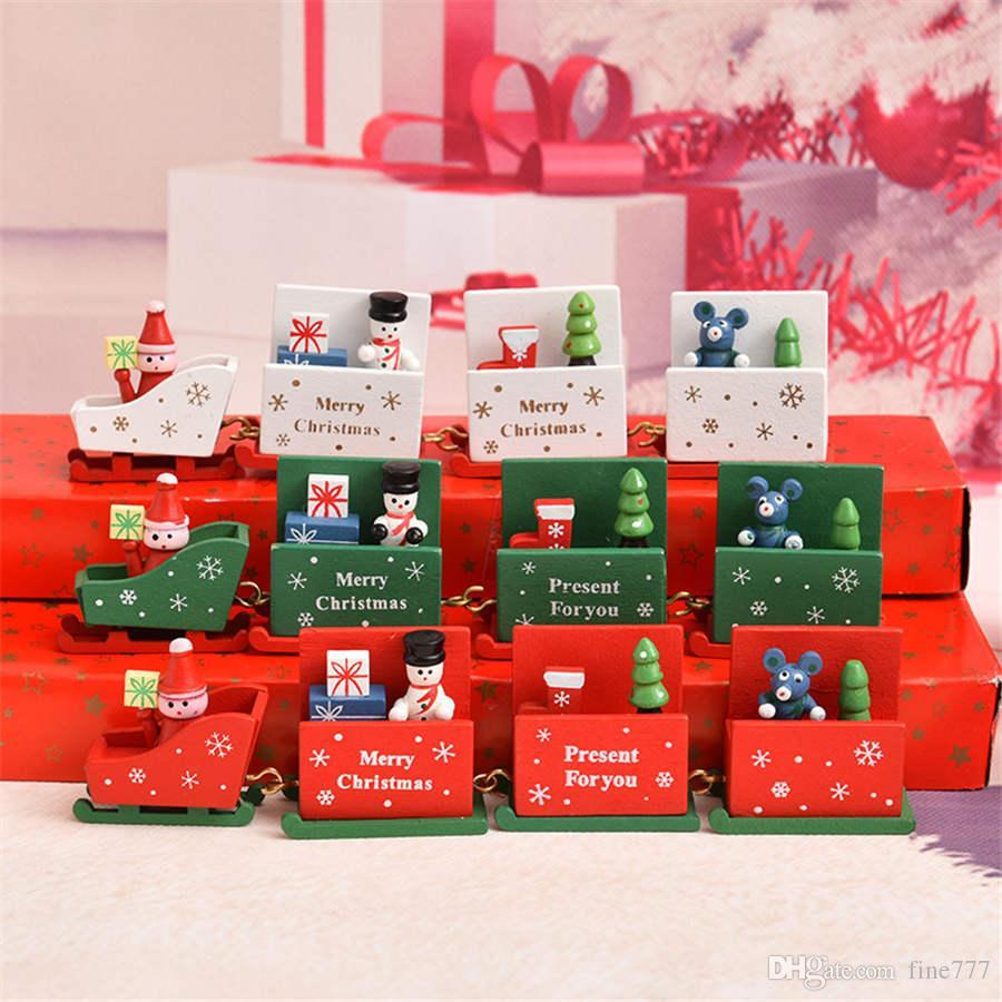 Décorations de Noël train en bois jouets de Noël artisanat ornements jouets pour enfants cadeaux de vacances pour enfants cadeaux de maternelle DHL
