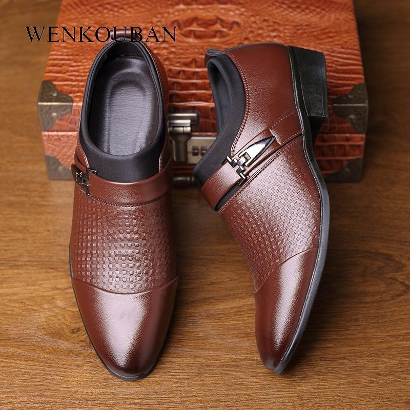 Formale Schuhe Herren Leder Beleg auf Ebene Oxford Business Hochzeit Schuhe Männlich Büro Spitzschuh Loafers Männer Kleid aus Leder