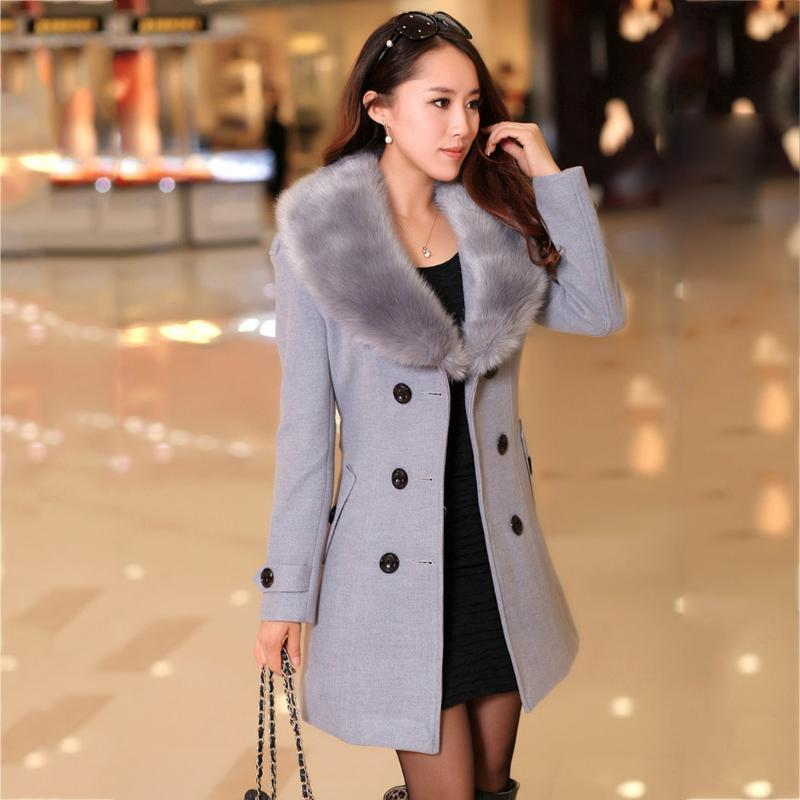Vente en gros-nouvelles femmes d'hiver laine long manteau chaud Parkas en fausse fourrure Manteau Outwear Toison Pardessus Taille Plus Veste de taille réglable