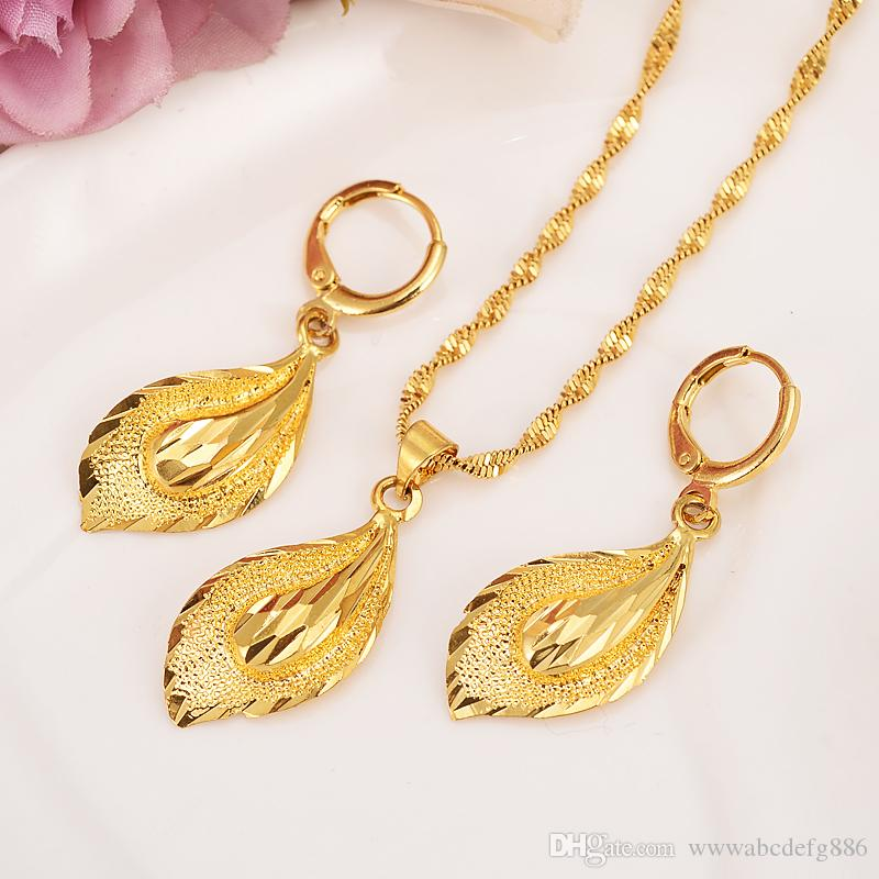 14 K Solid gold GF Necklace Earring Set Women Party Gift big Leaf Sets daily wear mother gift DIY charms girls Fine Jewelry