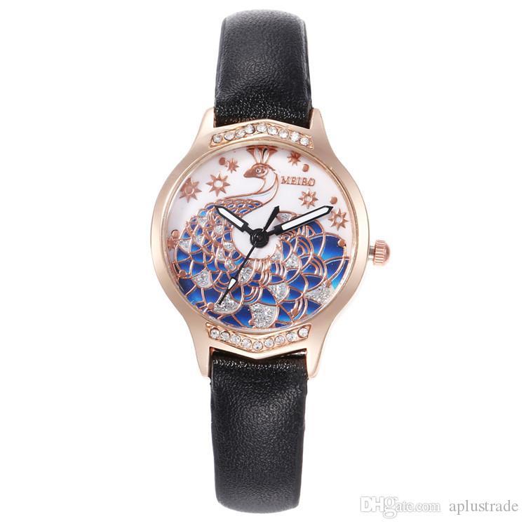 Aplustrade أزياء الطاووس الهاتفي كوارتز ساعة متعدد الألوان الماس منحوت من الجلد اللباس ساعات المعصم للبنات السيدات ريلوخ