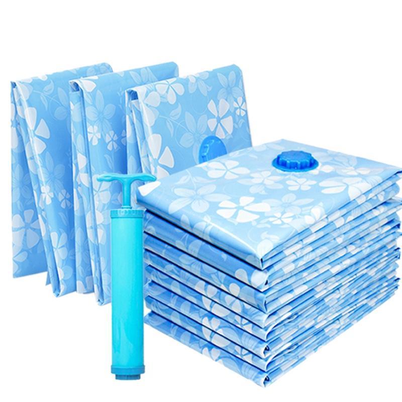 11PCS verdickte Vakuumspeicher-Beutel für Cloth Compression Tasche Wiederverwendbare Decke Kleidung Quilt Organizer mit Handpumpe