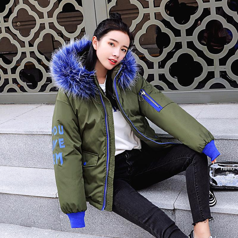 2019 women winter hooded warm coat fur collar candy color cotton padded jacket female long parka womens wadded jaqueta feminina