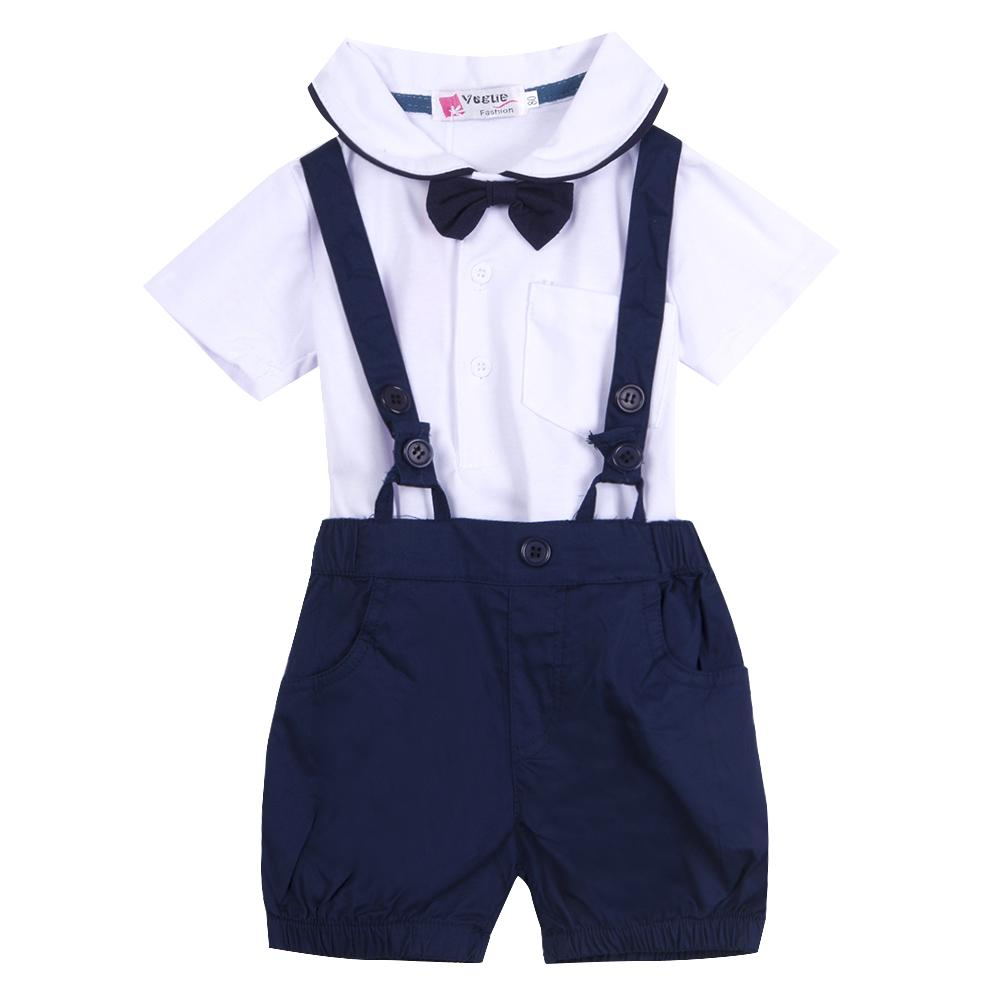 Newborn Baby Boy Girl Outfit Set Summer Short Sleeve Cotton Suit Children T-shirt Top + Overall Bib Pant + Bowknot Tie