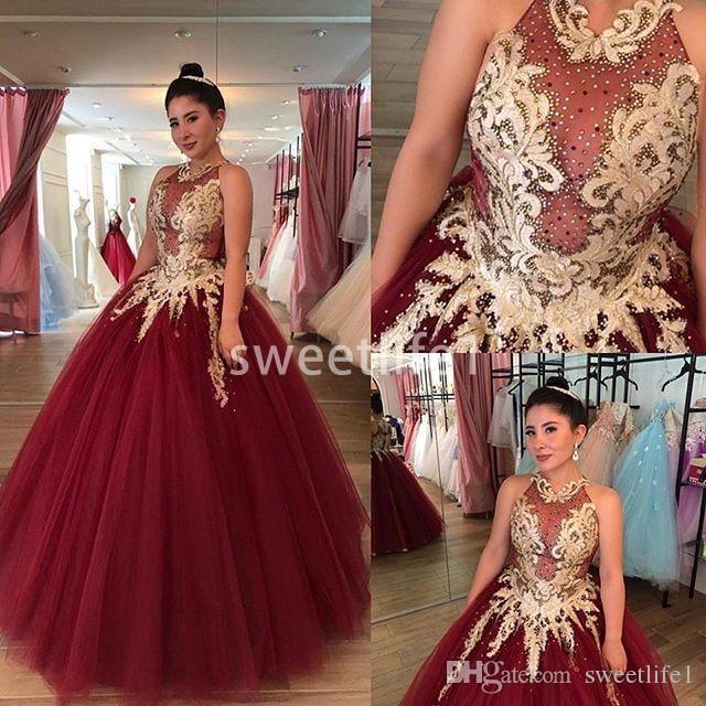2020 Zarif Bordo Jewel Boyun Quinceanera Elbiseler Altın Aplikler A Hattı Kat Uzunluk Tatlı 16 Örgün Akşam Gelinlik Modelleri Custom Made