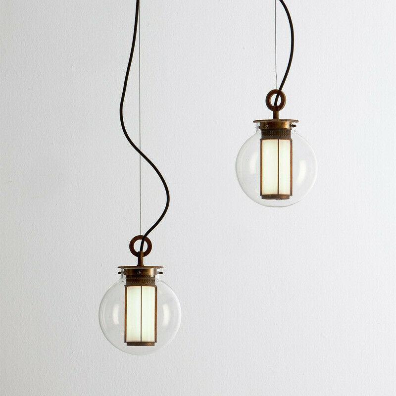 Boule en verre de bronze moderne pendentif lumière lustre de lustre suspendu maison salon de salon LED plafonnier éclairage PA0577