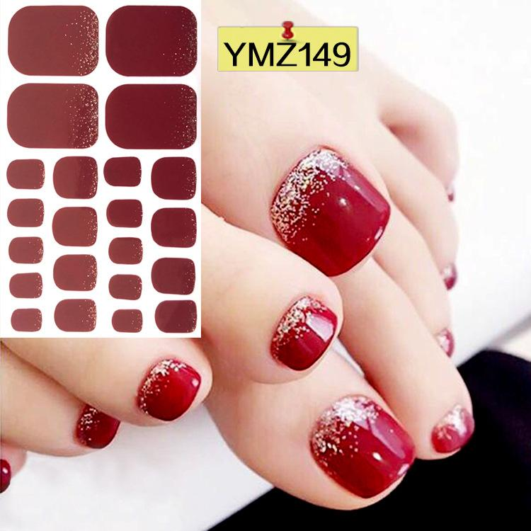 Cheap Stickers & Decals 1pc Toe Nail Sticker Adhesive Toenail Art Polish Tips French Glitter Sequins Nail Wraps Strips Easy To Wear