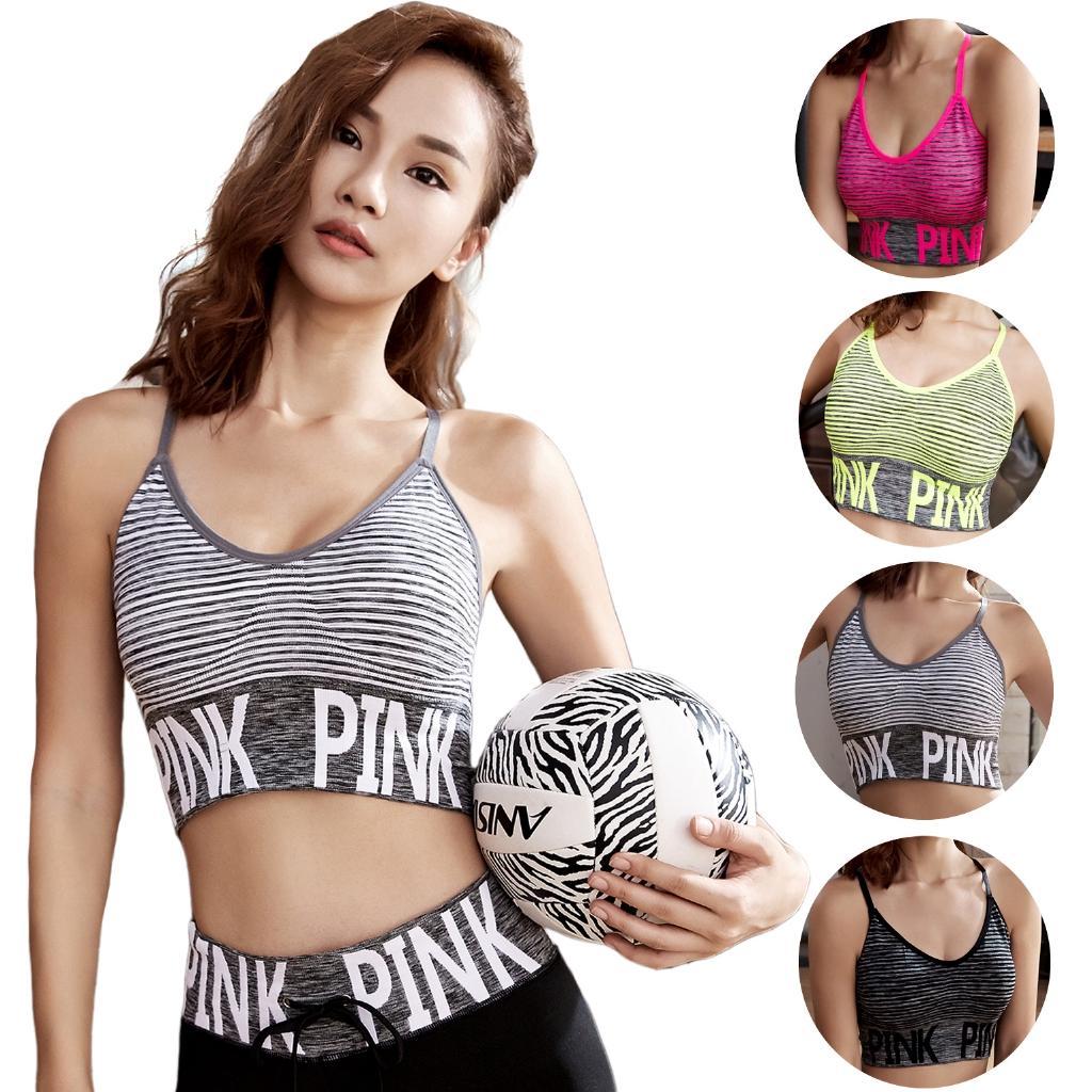 Tank diafram-barikat Moda-Kadınlar Nefes Darbeye Yastıklı Mektupları Desen Sorunsuz Spor Mahsul 2018 Yelek Tops T-shirt Tops