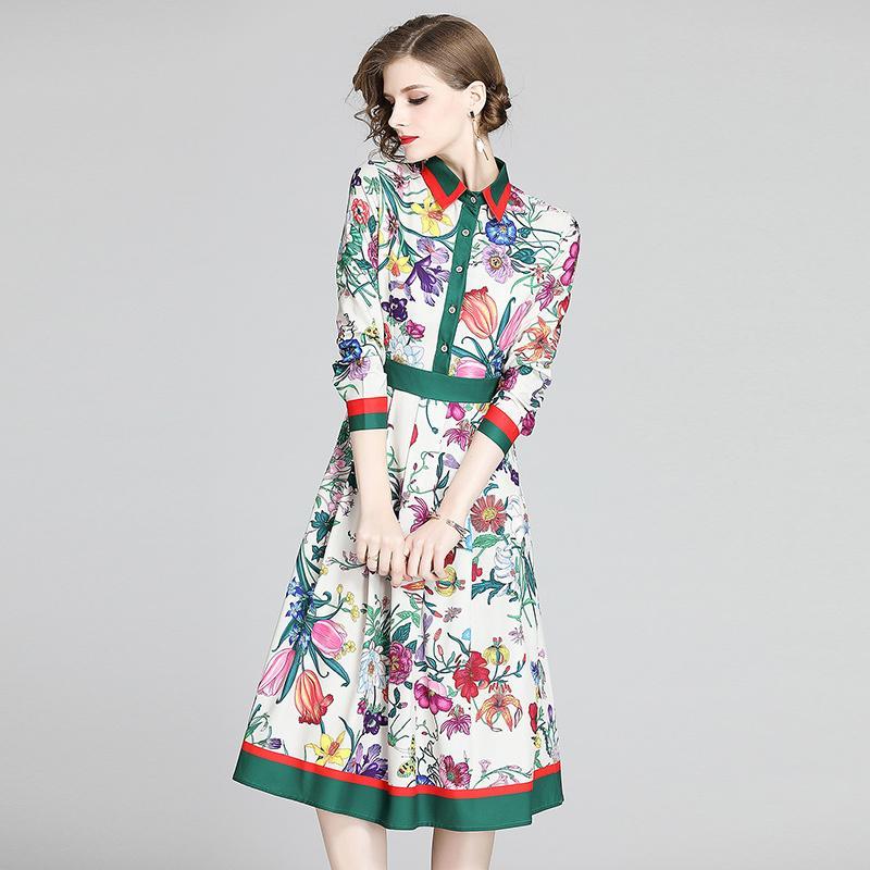 2020 Printemps Été Automne piste de mode imprimé floral à manches longues col Empire taille Femmes Avslappnad A-ligne Robe mi-longue