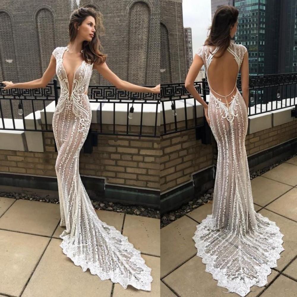 Sexy Berta 2020 Illusion Mermaid Wedding Dresses Deep V Neck Lace Appliqued Bridal Gowns Vestido De Novia Cap Sleeve Beach Wedding Dress
