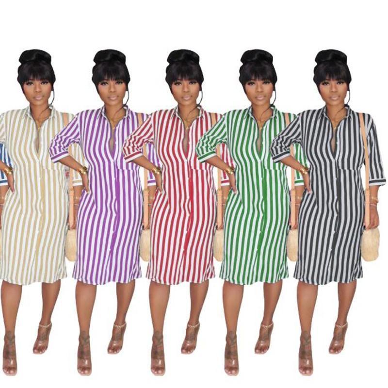 Mulheres Verão Midi camisa listrada Fashion Dress impressão soltas Bodycon Bandage Partido Night Club Rua Vestidos Vestidos