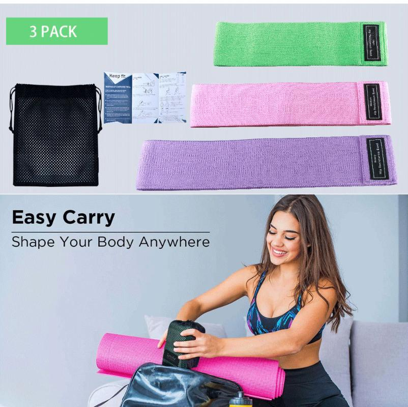 Widerstand-Bänder für Beine Set BuExercise Bands Non-Slip Elastic Booty 3 Levels Workout Frauen Sport Fitness