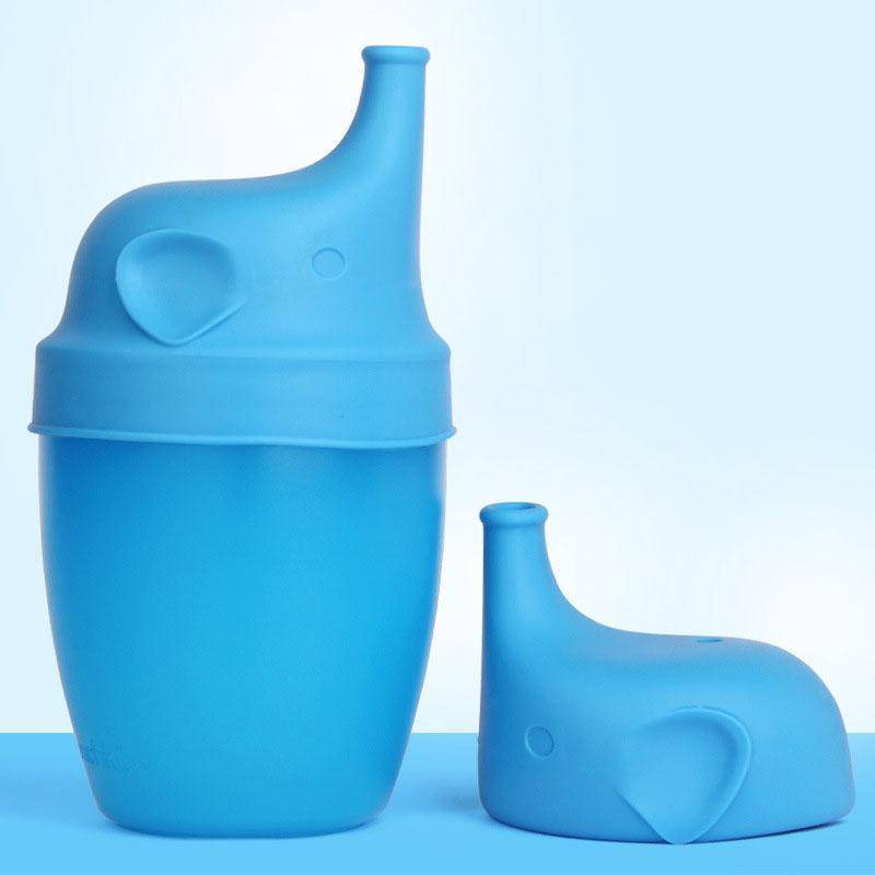 سيليكون الفيل الشكل مكافحة تجاوز SipSnap سيبي سيليكون كأس سيبي غطاء الطفل لا تسرب للطفل الغلاف السلطانية هوة