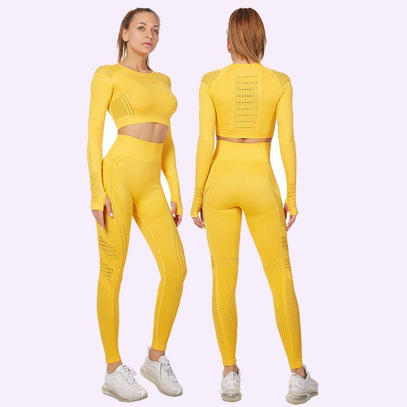Traje Yoga ropa de la aptitud de 7 colores de manga larga de malla ahueca hacia fuera el desgaste de la gimnasia Conjunto inconsútil del deporte para las mujeres