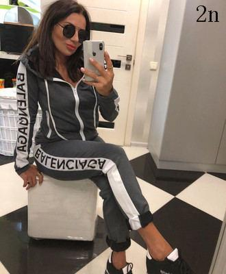 Womens New Hooded Suit 2020 Two-piece Sports Leisure Fashion Comfort Set Autumn 4 Style Solid Color Size S-XL2