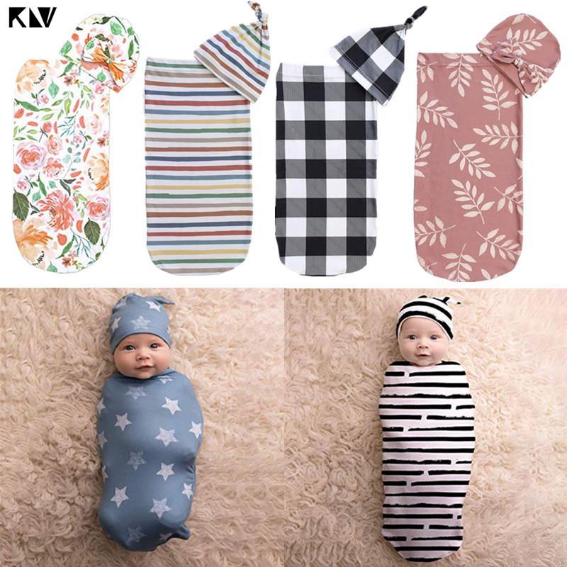 أكياس النوم KLV حقيبة التفاف الطفل لطيف بطانية مع قبعة قماط مجموعة من مواد لينة من منشفة صديقة للبشرة هدايا الرضع