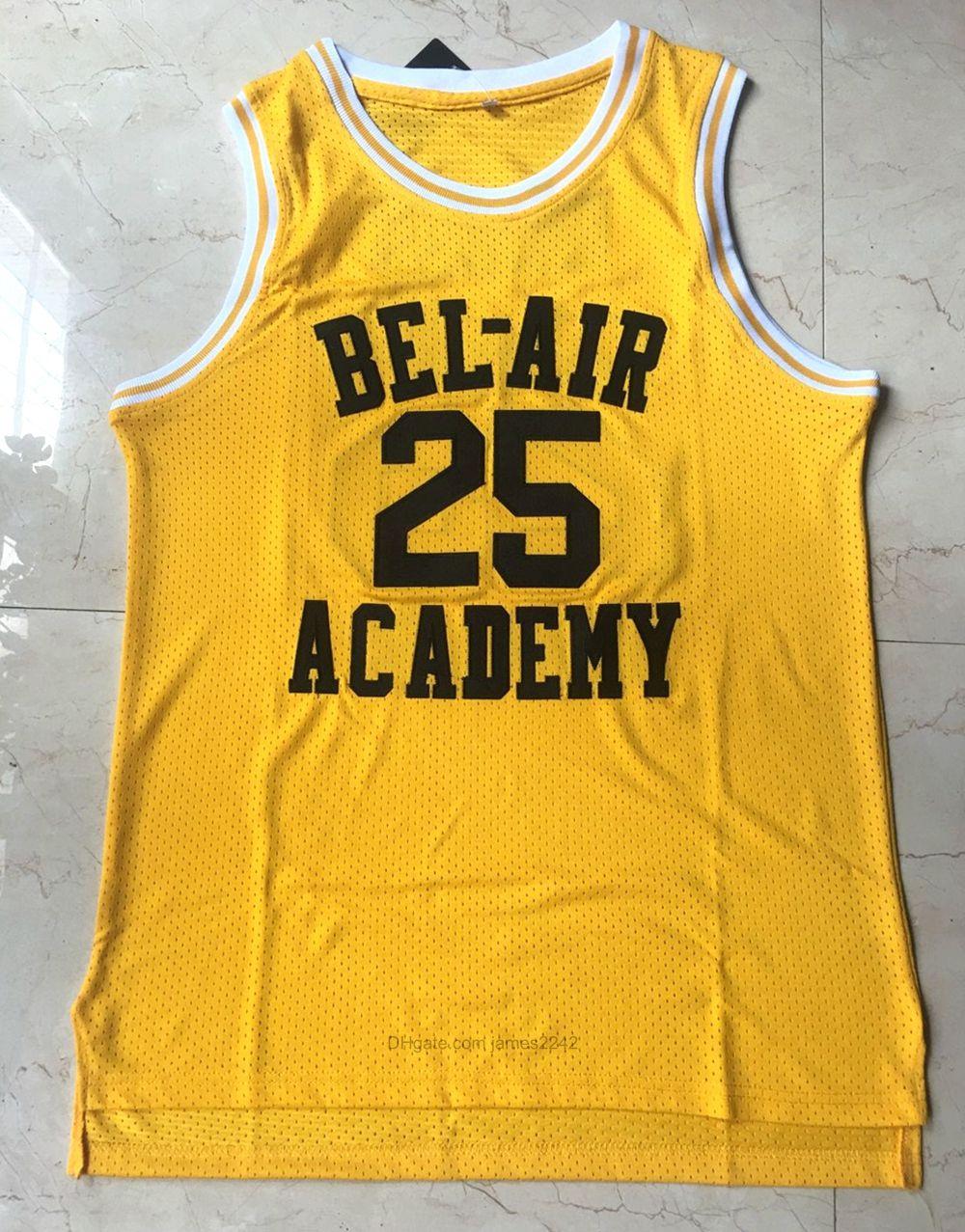 Expédier de nous # 25 Carlton Banks Basketball Jersey Fresh Prince Bel-Air Academy Film Jerseys Pouciation Jaune Broderie S-3XL de haute qualité