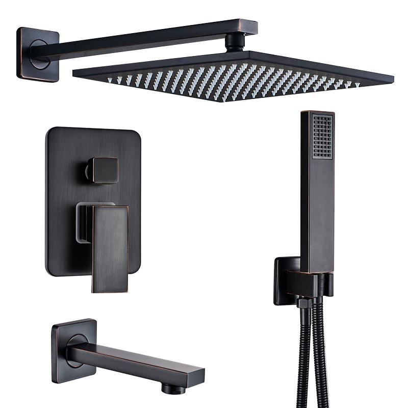 "Quyanre RU Shipping Black Concealed Shower Faucets Set 12"" Brass Rainfall Shower Head Single Handle Mixer Tap Bathroom Shower T200612"