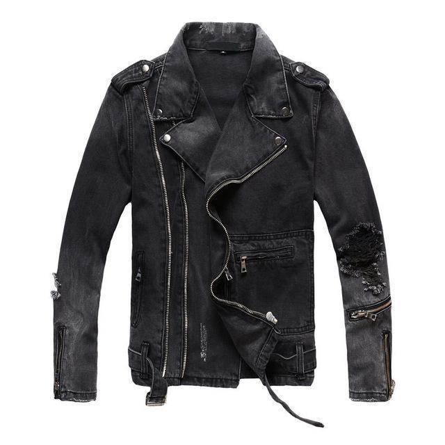 Il nuovo modo Hi Via Mens denim strappati giacche con Multi Cerniere Streetwear Distressed Motociclista Jeans Jacket