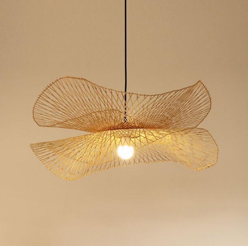 Suspensão de bambu moderna luminária Mão borboleta malha Light Hotel Restaurante Sala de Jantar Quarto Zen que haniging Luz Myy