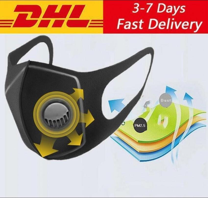 Sponge Reusable PM2.5 Protective Face Mouth Masks Black With Filters Value Designer Wide Straps Mascherine Washable Respirator Masks Fy0002