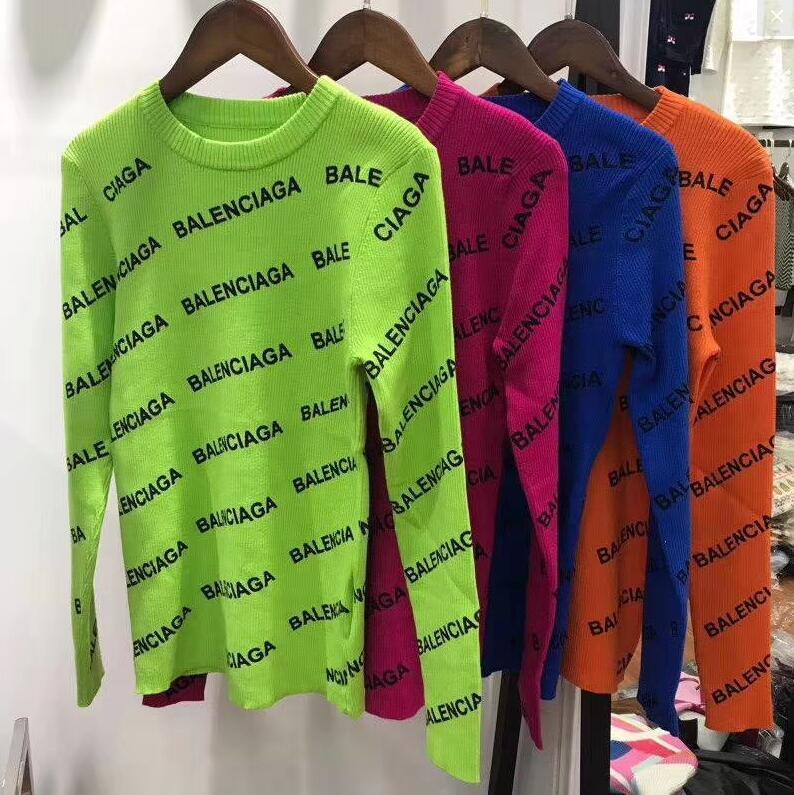 2019 가을 겨울 여성 스웨터 여성 뜨개질 풀오버 탑 긴 소매 무료 크기 편지 스웨터 톱 브랜드 디자인 자카드