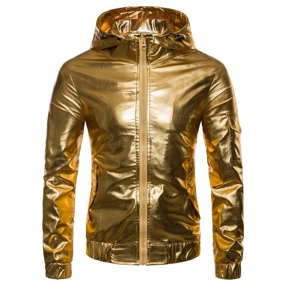 Hommes or argent vestes de bombardier couleur punk, hip hop scène veste de boîte de nuit à capuche costume hommes et manteaux coupe-vent occasionnel