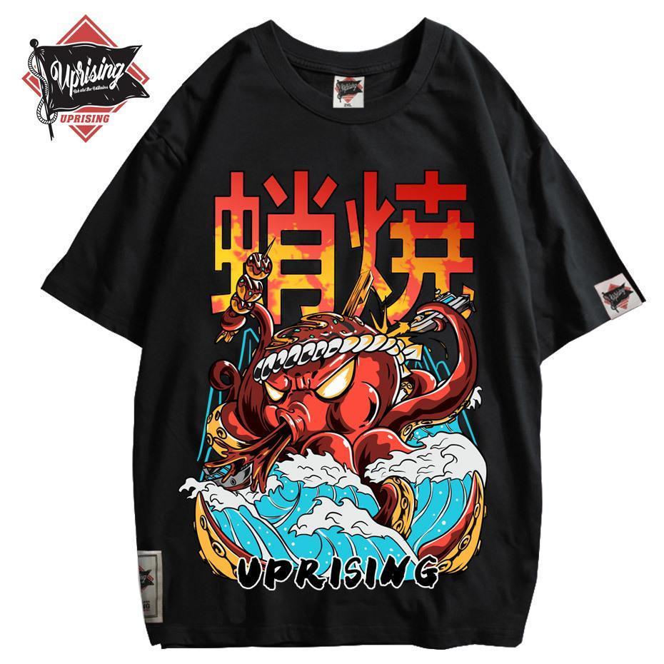 Hip Hop Camisetas Streetwear Oversized engraçado Octopus Homens Harajuku T-shirt japonês Estilo Verão cobre T Cotton T-shirt Preto T200420