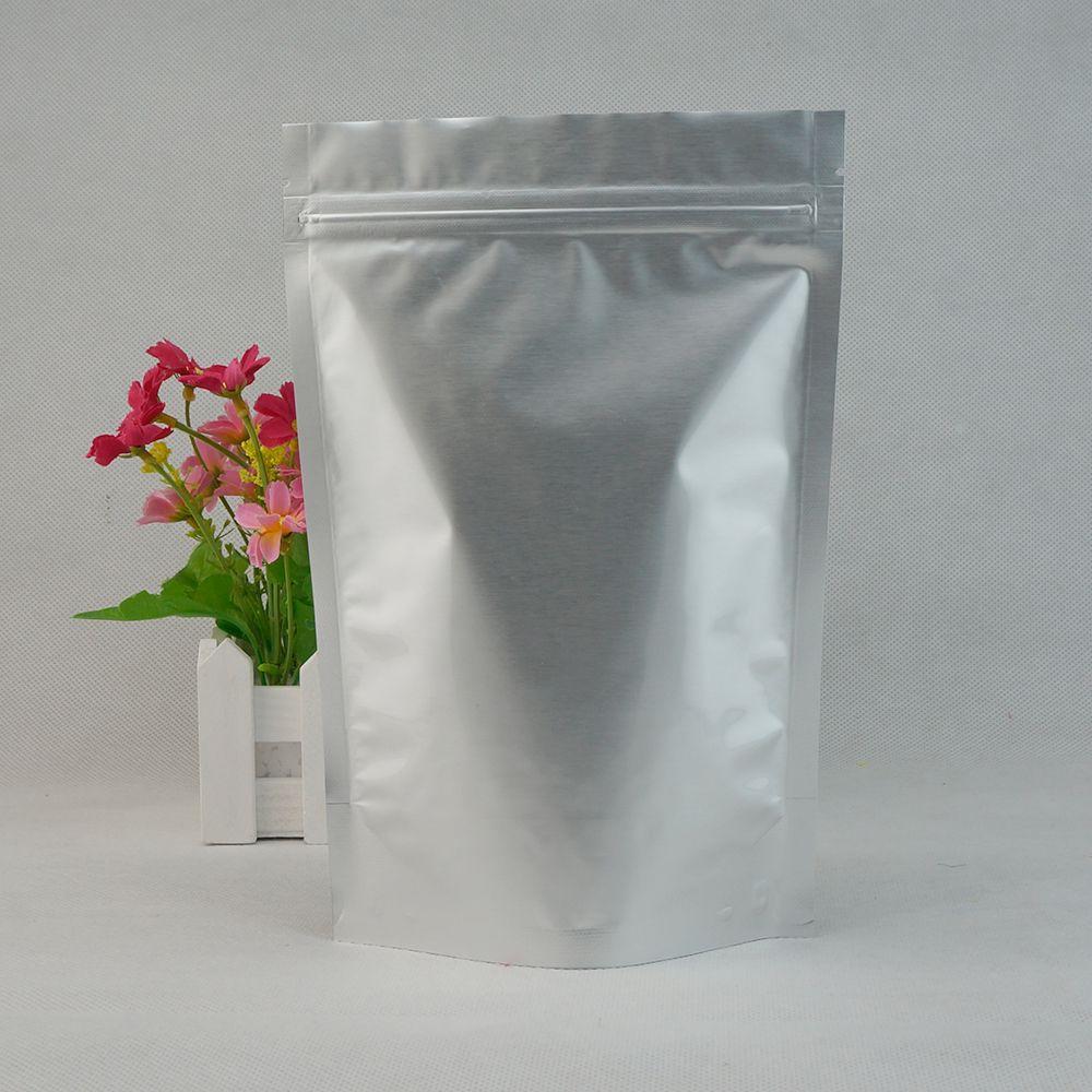 Sacchetti di imballaggio dell'alimento di trasporto libero 100 pz / lotto Stand Up Argento alluminio puro foglio di plastica sacchetto a chiusura lampo, riutilizzabile polvere di latte stoccaggio Doypack